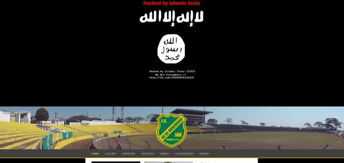 Site Oficial do XV de Jaú foi supostamente hackeado pelo Estado Isâmico (Foto: Reprodução)