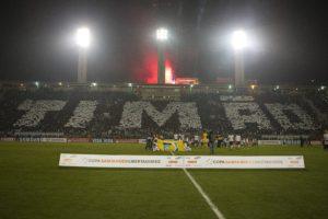 Mosaico da torcida do Corinthians na decisão contra o Boca (Foto: Reprodução)