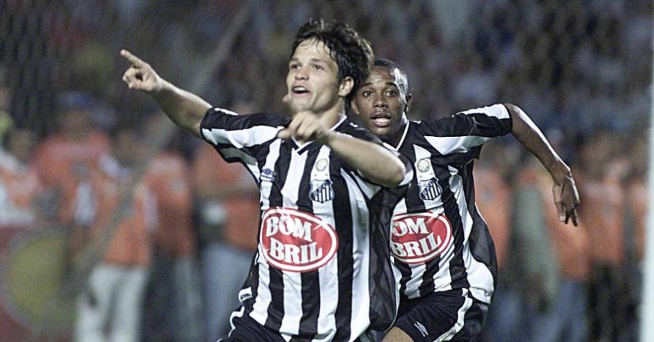 Diego comemora a vaga contra o rival no Morumbi (Foto: Santos/Divulgação)