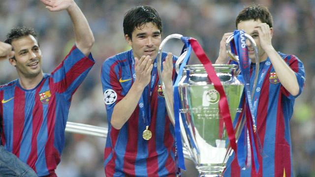 Ao lado de Ronaldinho, Deco conquistou a Champions de 2006 (Foto: FCB)