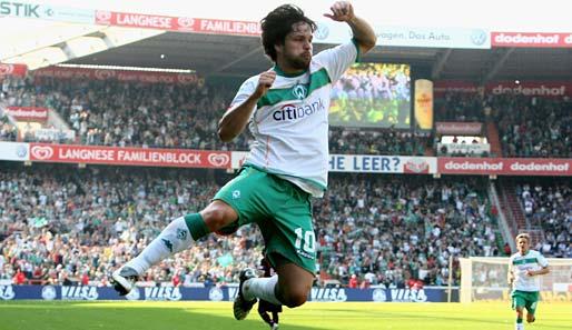 Diego brilhou intensamente no Werder Bremen (Foto: Reprodução/spox.com)
