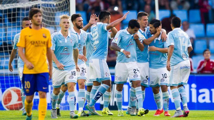 Equipe Galega celebra um dos quatro gols sobre o Barça (Foto: Reprodução)