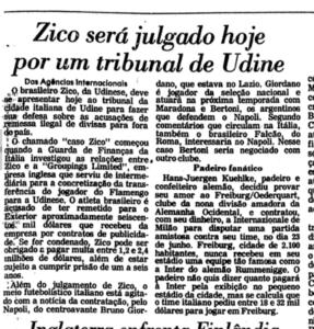 Depois de julgado, Zico nunca mais voltou à Itália (Foto: Reprodução)