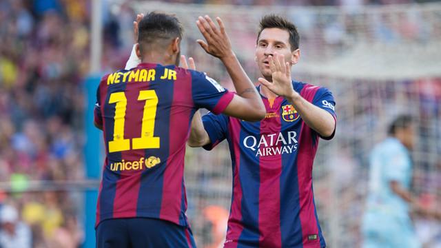 Neymar e Messi: sintonia entre duas gerações de craques (Foto: Divulgação/Barcelona)