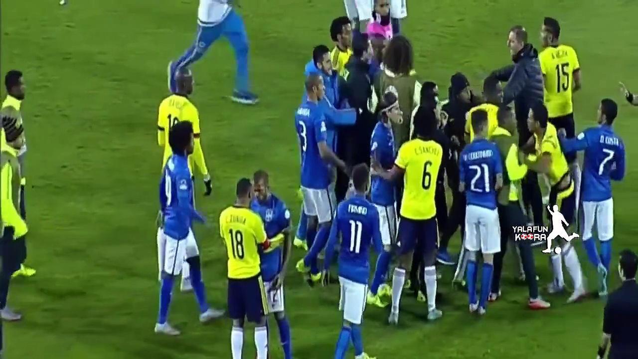 Confusão contra a Colômbia rendeu punição ao brasileiro (Foto: Reprodução)