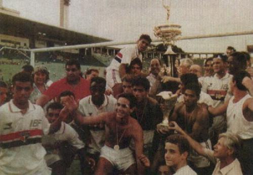 Jogadores do Tricolor e o título inédito (Foto: Reprodução)