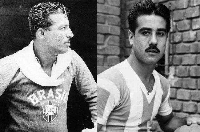 """Zizinho (à esq.) e """"Tucho"""" Méndez marcaram 17 gols cada no antigo Campeonato Sul-Americano (Foto: Montagem/Alambrado)"""