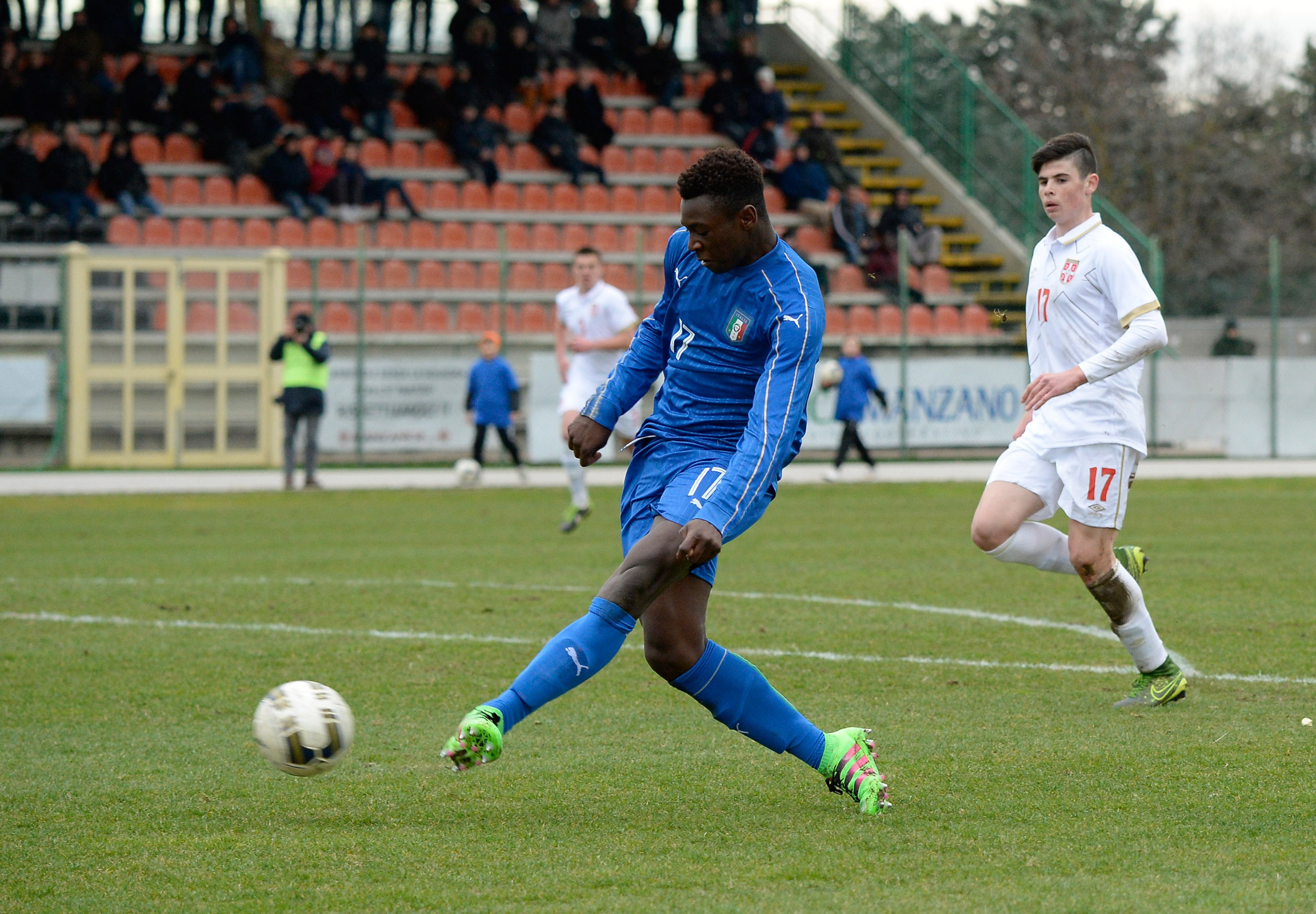 MANZANO, ITALY - FEBRUARY 16:  Bioty Moise Kean of Italy U17 scores his team's seconf goal during the international friendly match between Italy U17 and Serbia U17 at Stadio Comunale  on February 16, 2016 in Manzano, Italy.  (Photo by Dino Panato/Getty Images)